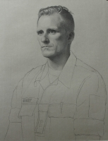 Lieutenant Colonel Børge Gamst, Norwegian Home Guard, 19 X 26, charcoal/graphite/white chalk (2017)
