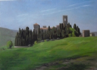 Badia Passignano, 12 X 16, oil on panel (1995) Private Collection