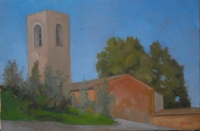San Gimignano Lone Tower 8 X 12, oil on panel (2009), Private Collection