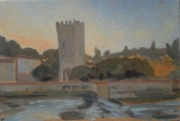 Tower on the Arno in Florence, 8 X 12, oil on panel (2003) Private Collection
