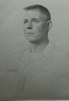 Portrait drawing of Navy Captain Jon Ivar Kjellin