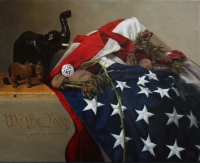 We the Peop...are getting screwed,, oil on panel, (2016) Finalist in the Portrait Society of America 2016 Members Only Competition, Still Life category